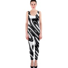 Black And White Wave Abstract Onepiece Catsuit