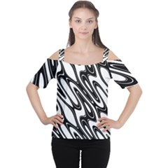 Black And White Wave Abstract Women s Cutout Shoulder Tee