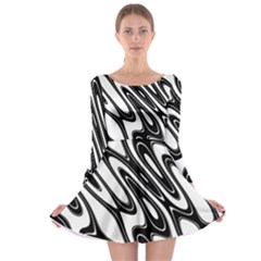 Black And White Wave Abstract Long Sleeve Skater Dress