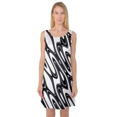 Black And White Wave Abstract Sleeveless Satin Nightdress