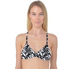 Black And White Wave Abstract Reversible Tri Bikini Top