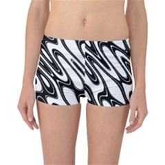 Black And White Wave Abstract Reversible Bikini Bottoms