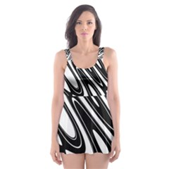 Black And White Wave Abstract Skater Dress Swimsuit