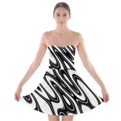 Black And White Wave Abstract Strapless Bra Top Dress