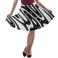 Black And White Wave Abstract A Line Skater Skirt