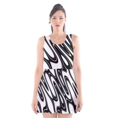 Black And White Wave Abstract Scoop Neck Skater Dress