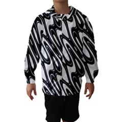 Black And White Wave Abstract Hooded Wind Breaker (Kids)