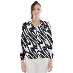 Black And White Wave Abstract Wind Breaker (women)