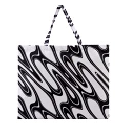 Black And White Wave Abstract Zipper Large Tote Bag
