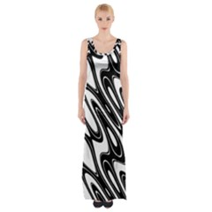 Black And White Wave Abstract Maxi Thigh Split Dress