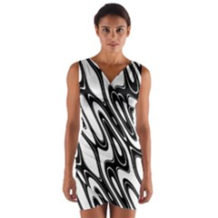 Black And White Wave Abstract Wrap Front Bodycon Dress