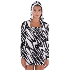 Black And White Wave Abstract Women s Long Sleeve Hooded T Shirt