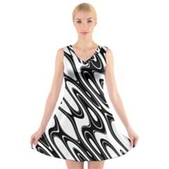 Black And White Wave Abstract V Neck Sleeveless Skater Dress