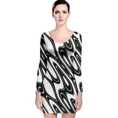 Black And White Wave Abstract Long Sleeve Velvet Bodycon Dress