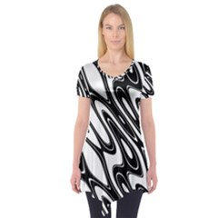Black And White Wave Abstract Short Sleeve Tunic