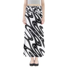 Black And White Wave Abstract Maxi Skirts