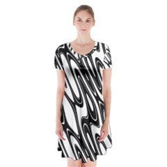Black And White Wave Abstract Short Sleeve V Neck Flare Dress