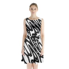 Black And White Wave Abstract Sleeveless Chiffon Waist Tie Dress