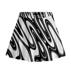 Black And White Wave Abstract Mini Flare Skirt