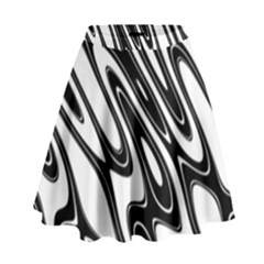 Black And White Wave Abstract High Waist Skirt