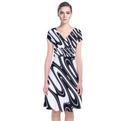 Black And White Wave Abstract Short Sleeve Front Wrap Dress