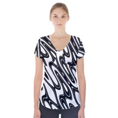Black And White Wave Abstract Short Sleeve Front Detail Top