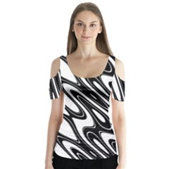 Black And White Wave Abstract Butterfly Sleeve Cutout Tee