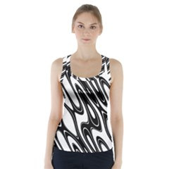 Black And White Wave Abstract Racer Back Sports Top