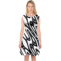 Black And White Wave Abstract Capsleeve Midi Dress