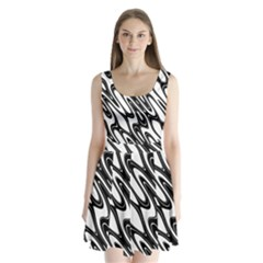 Black And White Wave Abstract Split Back Mini Dress