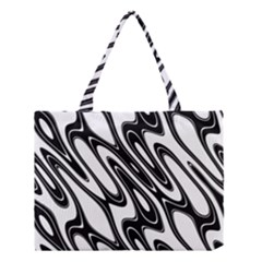 Black And White Wave Abstract Medium Tote Bag