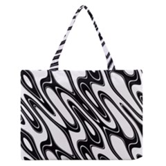 Black And White Wave Abstract Medium Zipper Tote Bag