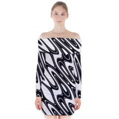 Black And White Wave Abstract Long Sleeve Off Shoulder Dress