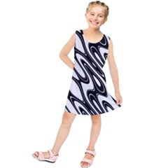 Black And White Wave Abstract Kids  Tunic Dress