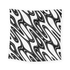 Black And White Wave Abstract Square Tapestry (small)