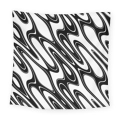 Black And White Wave Abstract Square Tapestry (large)