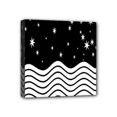 Black And White Waves And Stars Abstract Backdrop Clipart Mini Canvas 4  X 4