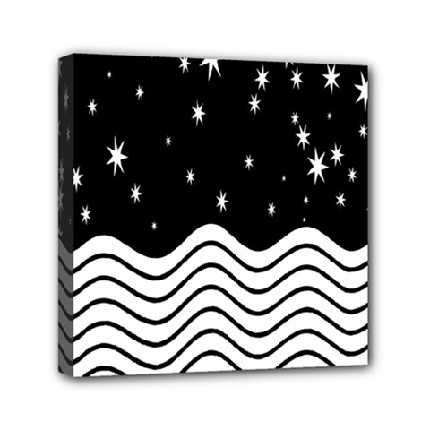 Black And White Waves And Stars Abstract Backdrop Clipart Mini Canvas 6  X 6