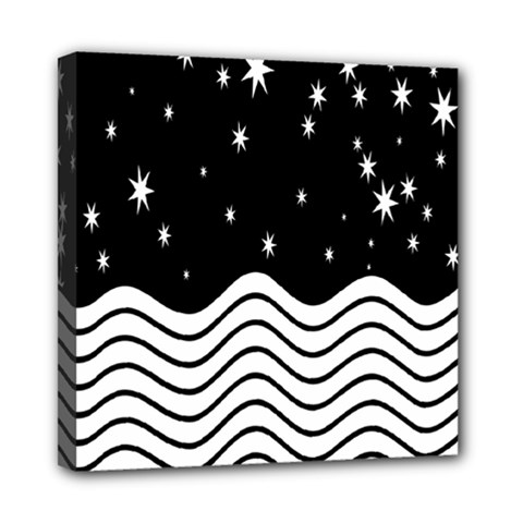 Black And White Waves And Stars Abstract Backdrop Clipart Mini Canvas 8  X 8