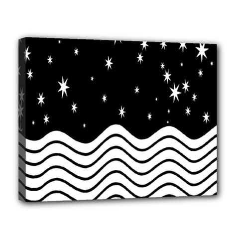 Black And White Waves And Stars Abstract Backdrop Clipart Canvas 14  X 11