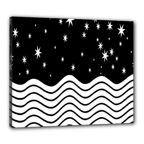 Black And White Waves And Stars Abstract Backdrop Clipart Canvas 24  X 20