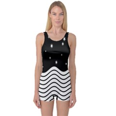 Black And White Waves And Stars Abstract Backdrop Clipart One Piece Boyleg Swimsuit