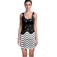 Black And White Waves And Stars Abstract Backdrop Clipart Sleeveless Bodycon Dress
