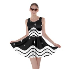 Black And White Waves And Stars Abstract Backdrop Clipart Skater Dress