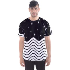Black And White Waves And Stars Abstract Backdrop Clipart Men s Sport Mesh Tee