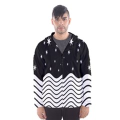 Black And White Waves And Stars Abstract Backdrop Clipart Hooded Wind Breaker (men)
