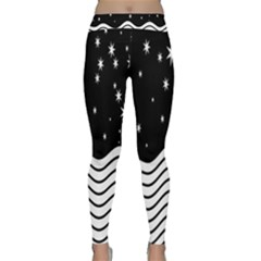Black And White Waves And Stars Abstract Backdrop Clipart Classic Yoga Leggings