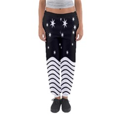 Black And White Waves And Stars Abstract Backdrop Clipart Women s Jogger Sweatpants