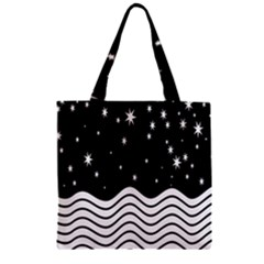 Black And White Waves And Stars Abstract Backdrop Clipart Zipper Grocery Tote Bag