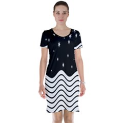 Black And White Waves And Stars Abstract Backdrop Clipart Short Sleeve Nightdress